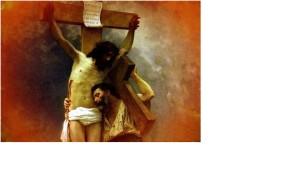 Cristo in croce e uomo che lo abbraccia
